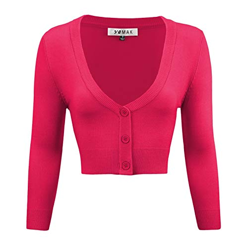 YEMAK Women's Cropped Bolero 3/4 Sleeve Button Down Cardigan Sweater CO129-RPK-1X Rose Pink