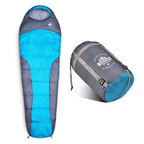 Lumaland Outdoor Schlafsack Mumienschlafsack, 230 x 80 cm, inklusive Packsack, 50 x 25 cm gepackt türkis