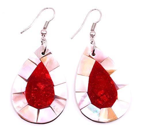 Pendientes de nácar con concha artesanal, étnico, diseño étnico, color coral rojo