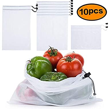 Reusable Produce Bags Made of See Through Mesh Polyester Keeps Vegetables Fresh and toys storage