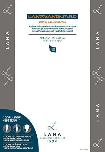 Hahnemühle LANA LANAVANGUARD, 10Bl, 200gr. Multitechnik, Acryl, Öl, Gouache, Aquarell, Filzstift,Tinte, Faserstift (34x48cm)