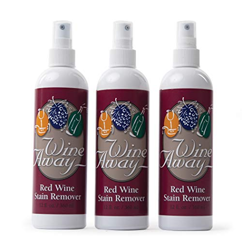 Wine Away Red Wine Stain Remover Spray - Natural Carpet and Upholstery Spot Cleaner - Effectively Removes Blood, Clothes, Coffee, & Pet Stains - Best on Both Fresh & Dried Stains - 12 Oz - Pack of 3