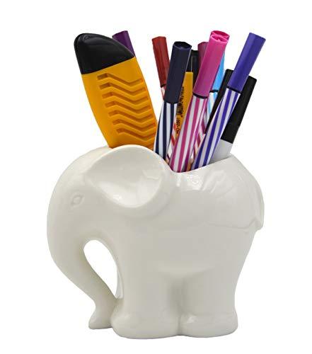 3.9' Ceramic Elephant Pencil Holder/Pen Holder/Plant Pot/Bonsai Pot/Flower Pot/Succulent Planter (White)