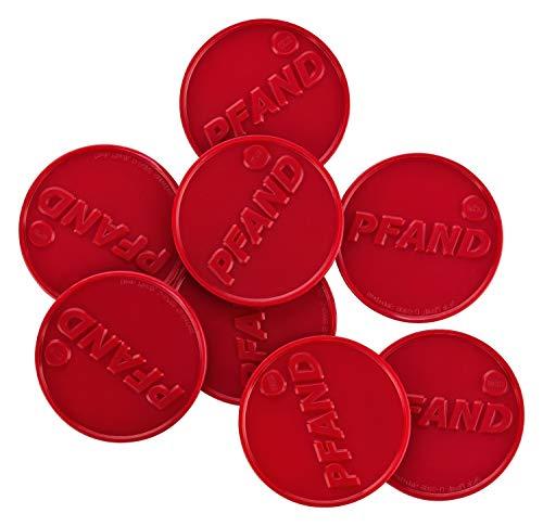 Pfandmarken, ø30mm, Aufdruck: 'PFAND', viele Farben + Mengen, einsetzbar als Wertmarken Getränkemarken oder Essensmarken, Farbe:brillantrot, Größe:100 Stück
