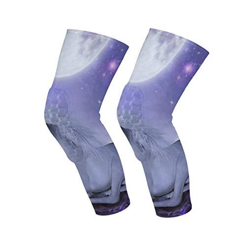 AHOMY 1 par de rodilleras para hombres y mujeres, unicornio noche luna, rodillera de compresión para correr, fútbol, deporte