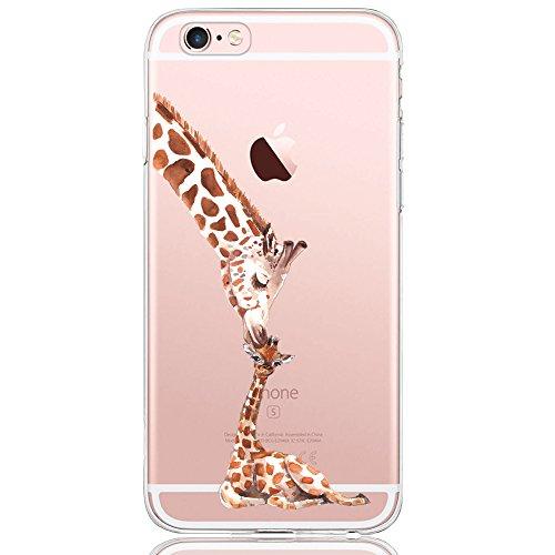 Oveo kompatibel mit iPhone 6 / 6S Hülle, Dolce Vita Serie Transparente Silikon Handyhülle Accessoires für Damen/Mädchen, Durchsichtig mit Giraffe Unconditional Love Motiv
