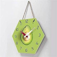 TIANYOU Wall Clock Avocado Bracket Clock Lanyard Clock Acrylic Silent Wall Clock Living Room Bedrooms Kitchen Bracket Clock 14 Inches Clockw #3