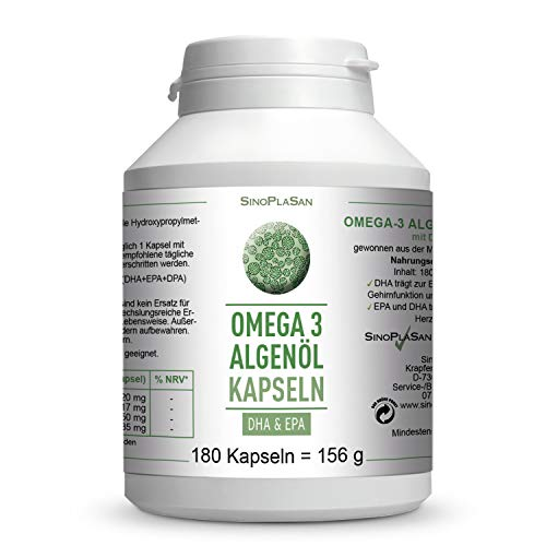 Omega-3 Algenöl || 180 Kapseln || je 417mg DHA & 150mg EPA || OHNE Carrageen || vegan || 100{57741a0482bc6d39b0ee4f5f19dc31ff5946fe3b3dcd80fd5176a8826fc6611c} natürlich || SinoPlaSan
