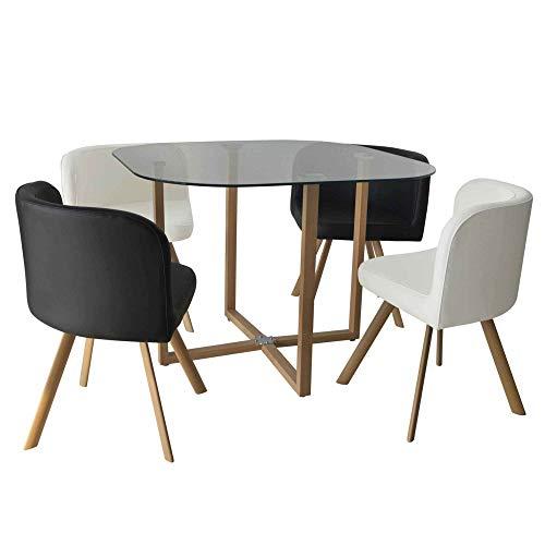 DecoInParis - Conjunto de mesa y 4 sillas encajables FLEN (negro y blanco)