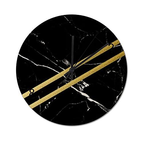 Reloj de Pared ,Mármol Black Ties, Relojes de Pared Digitales de Madera Que no Hacen tictac, Funcionan con Pilas, decoración Sala de Estar, Dormitorio, Aula, Oficina (12 Pulgadas).