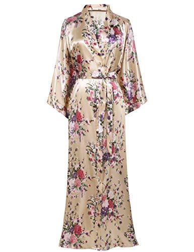 BABEYOND - Bata estilo kimono con diseño floral para mujer, boda, niña, fiesta, pijama, 135 cm de largo Beige champán Talla única