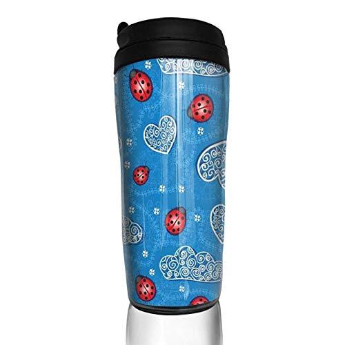 Taza de café con tapa Mariquitas Nubes adornadas Corazón Vaso de viaje Taza con aislamiento al vacío Botella de agua