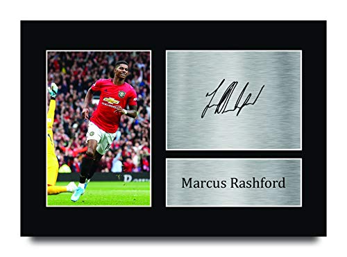 HWC Trading Marcus Rashford Gift Signed A4 Printed Autograph Manchester United Gifts Print Photo Picture Display