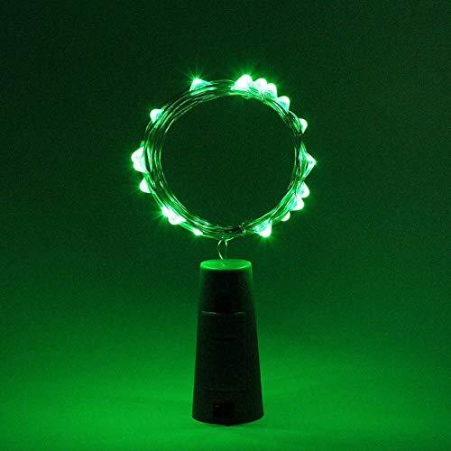 1M 2M LED cadena de luces de alambre de plata de hadas luz Garland tapón de botella para artesanía de cristal decoración de Navidad para el hogar - verde, 5 piezas, 2 m 20 LEDs