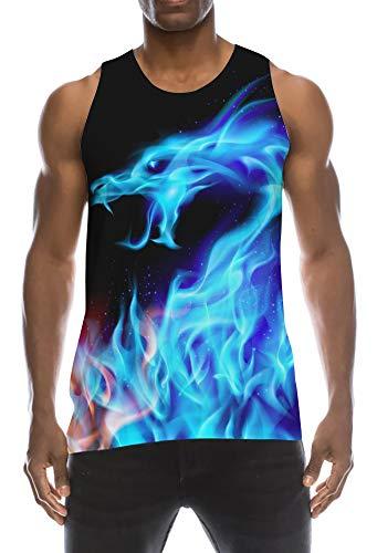 TUONROAD Tank Top Herren 3D Print Druck Flamme Drachen Lustig ärmelloses T-Shirt Sommer Hawaii Tanktop Sport Fitness Shirt XXL