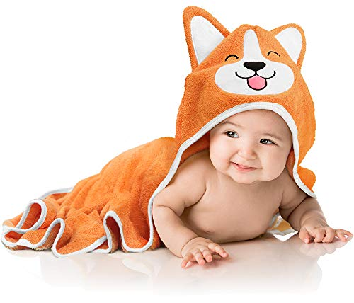 Baby Aves Premium Hooded Baby Towel, 100% Organic Bamboo, Free Washcloth, Baby Shower Gift, Registry Gift, 35x35 for Newborns, Infants, Toddlers & Kids, for Boys & Girls at Bath, Pool & Beach (Orange)