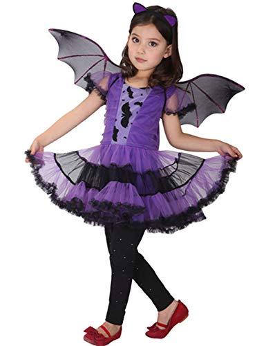 ShiyiUP Halloween Mädchen Kostüm Karneval Fasching Bekleidung Kinder Hexen Fledermaus Kleidung ,Lila Fledermaus,120