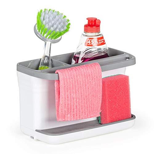ROSMARINO Organizador de Fregadero - Organizador de Cocina de plástico ABS, 22x14x11 cm, Gris - Porta Utensilios de Cocina con Drenaje de Agua