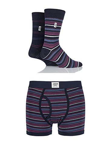 Mens 3er-Pack Jeep Geist Gift Boxed Mixed Gestreifte Boxershorts & Socken Navy / Berry S