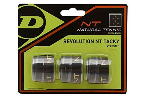 Dunlop Unisex-Adult 307087 NT Tacky Tennis Overgrip 3 Stück gelb, Schwarz, One Size