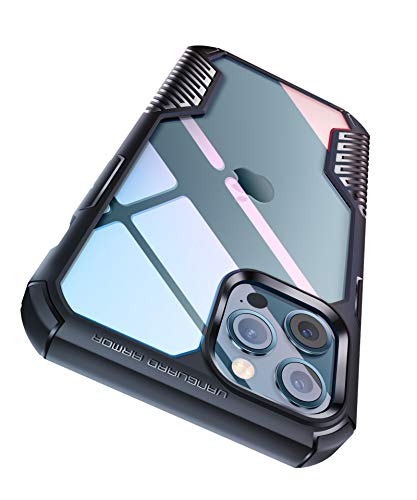 MOBOSI Vanguard Armor Compatible with iPhone 12 Case/iPhone 12 Pro Case, Clear Hard PC Shock-Absorbing Slim Rugged Protective Phone Cover Case 6.1 Inch 2020 (Matte Black)