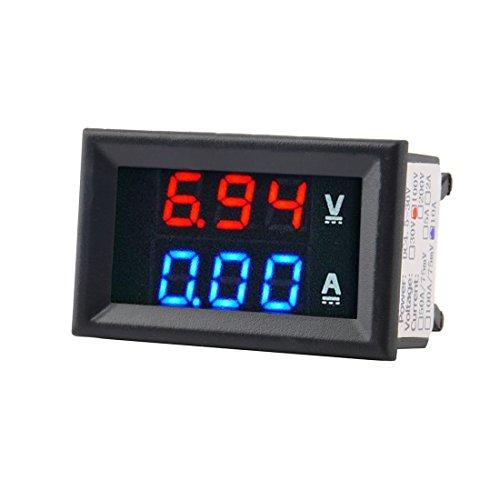 Misuratore di voltmetro CC 100V 10A Amperometro misuratore di volt digitale doppio + rosso LED Amp (Colore: nero)