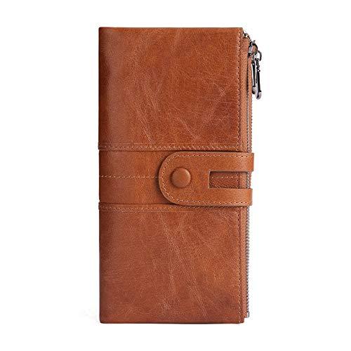 ROMAN Echtes Leder Geldbörse Damen Vintage Leder Damen Portmonee RFID Schutz Lang Portemonnaie Frauen mit Handyfach und Reißverschluss