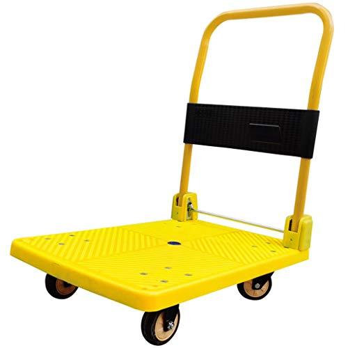 MIRBOOW Mover el Equipaje de Mano Camiones Plataforma de Superficie Plana portátil Cesta 4 Ruedas Slient Fácil de almacenaje Plegable Carro de Empuje 350 kg Capacidad de Peso Color Amarillo
