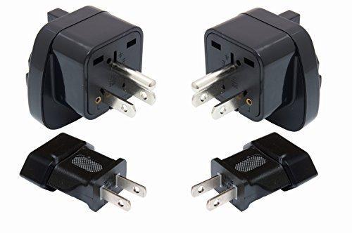 USA Mexico Canada Amerika SET reisstekker adapter | 2x type A + 2x type B met geaard contact | Duurzame stekker voor stopcontacten in het buitenland | Kwalitatief hoogwaardige stroomadapter