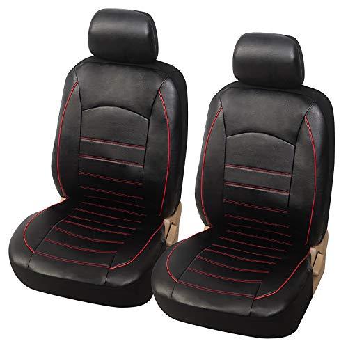 eSituro SCSC017240 Einzelsitzbezug universal Sitzbezug Sitzbezüge für Auto Schonbezug Sitzabdeckung Schoner aus Kunstleder Rot Schwarz