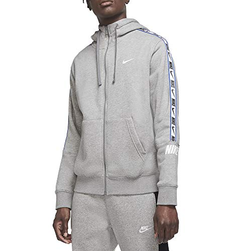 Nike Herren Repeat Fleece Full Zip Hoodie, Dk Grey Heather/White, XL