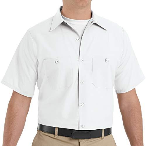 Red Kap Men's Standard Industrial Work Shirt, Regular Fit, Short Sleeve, White, 2X-Large