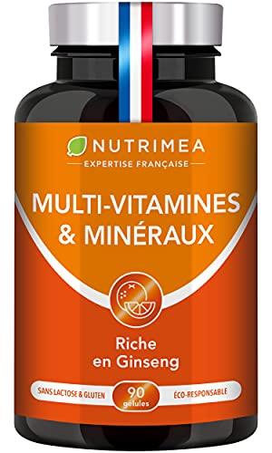 Multivitamines et Minéraux - Formule Unique au GINSENG - Vitamines B1, B3, B6, B9, B12, C, D3, Fer et Calcium - Energie, Vitalité, Puissance - Fabrication Française - Nutrimea