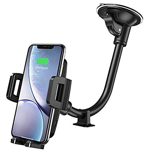 """Humixx Qi Wireless Charger Car Mount for Dash Board, Adjustable 360 Degree Rotation Black Clamping Wireless car Phone Holder Durable Design for Cellphone 4"""" to 6"""""""