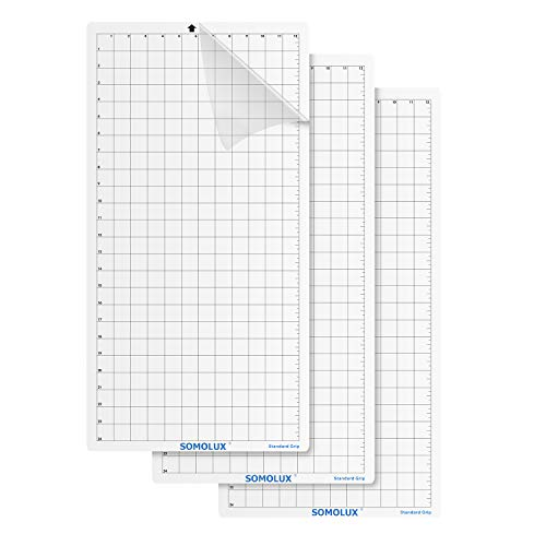 Cutting Mat Standard-Grip Adhesive 3Pcs by Somolux, Suit for Silhouette Cameo, Cricut Die Cutting Machine, 12'×24' Clear
