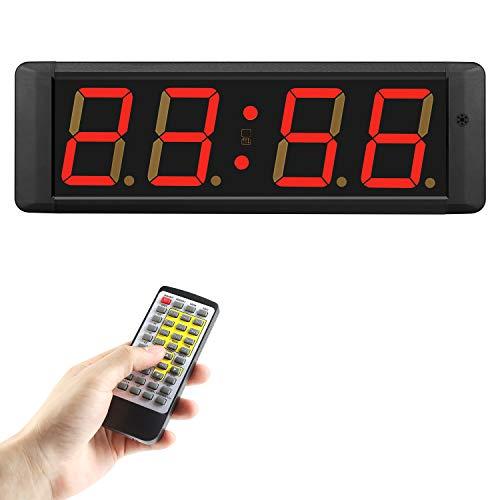 PELLOR Cronometros de Pared, Temporizador con Pantalla 4 Dígitos LED Reloj de Pared Reloj en Tiempo Real de 12/24 Horas, Gym Timer con Mando a Distancia por Infrarrojos