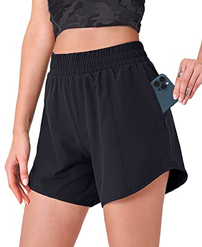 CELER Women's Running Shorts Quick Dry Workout Shorts with Phone Pocket Elastic Waist Athletic Sport Gym Shorts 5', Black L