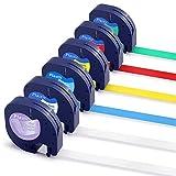 Suminey 12mm Ruban Compatible pour Dymo LetraTag Plastique 12267 91201 91202 91203 91204 91205 Étiquettes pour Dymo LT-110T LT-100H XR, Noir sur Blanc/Transparent/Rouge/Jaune/Bleu/Vert, Pack de 6