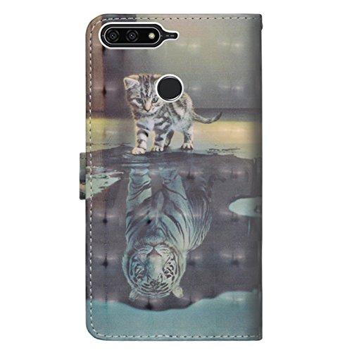sinogoods Für Huawei Y6 2018 / Honor 7A Hülle, Premium PU Leder Schutztasche Klappetui Brieftasche Handyhülle, Standfunktion Flip Wallet Case Cover - Katze Tiger