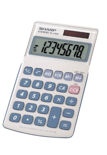 Sharp HO EL240SB 8 Digit Solar and Battery Powered Slant Display Calculator, White, 2 3/4 x 4 1/2 (EL240SAB)