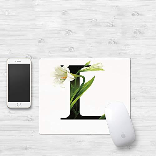 Tappetino Mouse Gaming [32 x 25 cm],Lettera L, concettuale ABC tipografia maiuscola L con Lily Flour,Con Impermeabile Antiscivolo Base di Gomma, Tappetino Scrivania Supporto per Computer, PC e Laptop