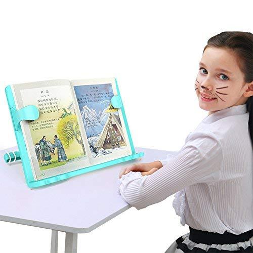 Buchständer verstellbar Leseständer kinder Schule Schüler Büro Kochbuchhalter Stabil Plastik Kochbuchständer einstellbar Schreibtisch für Lesen Bücher iPad Notebook Küche als Weihnachten Geschenk