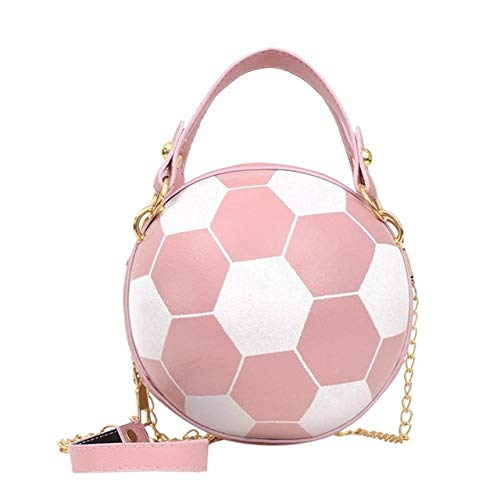 Mdsfe Personality female leather pink basketball bag 2020 new ball purses for teenagers women shoulder bags crossbody chain hand bags - Football pink,a6