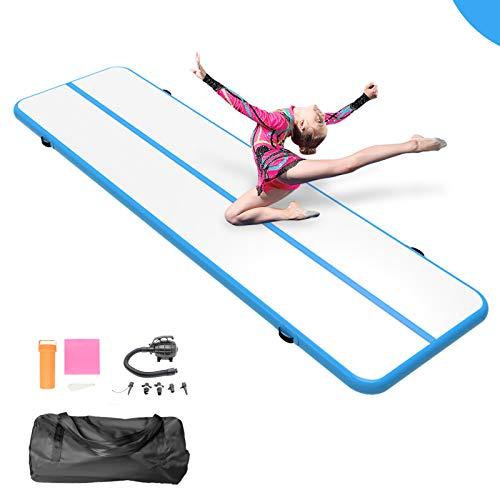13ft/16ft/20ft/ Inflatable Gymnastics Air Elasticity Track Tumbling Mat Training Mats Tumbling Mats Practice Gymnastics/Gym/Home Use/Cheerleading/Yoga (Blue, 10'x3.3'x4'')