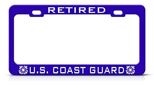 Metal Auto License Plate Frame Car Tag Holder Retired U.S. Coast Guard Metal Blue License Plate Frame Tag Border Perfect For Men Women Car Garadge Decor