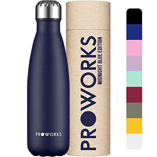 PROWORKS Bottiglia Acqua in Acciaio Inox, Senza BPA Vuoto Isolato Borraccia Termica in Metallo per Bevande Calde per 12 Ore & Fredde 24 Ore, Borraccia per Sport e Palestra - 1 Litre - Blu Mezzanotte