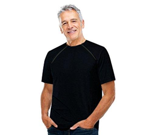 ComfyChemo : Men's Short Sleeve Chemotherapy Port Zipper Shirt I (X-Large , Black)