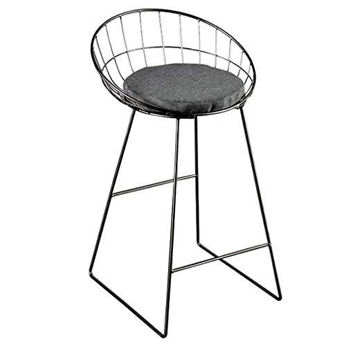WGEMXC Stühle, Hochstühle, Barstühle, Hocker Höhe Barhocker Stühle Home Counter Cafe Pub Sitz Mit Hohlen Rücken- Und Fußstützenboden,Schwarz,50 cm