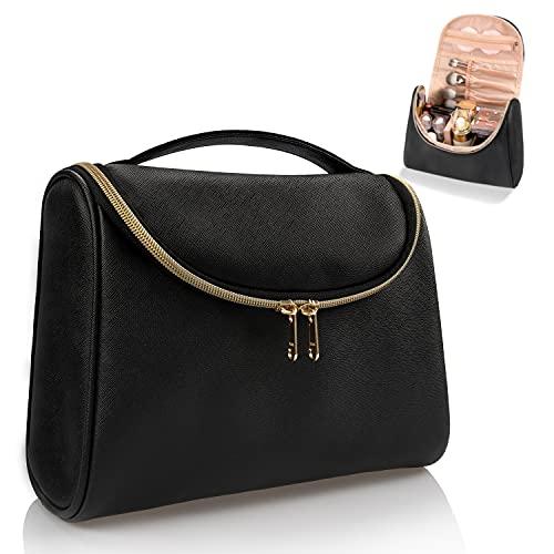Travel Makeup Bag, Ethereal Cosmetic Bag for Women Large Capacity Makeup Organizer Bag Vegan Leather Makeup Brushes Bag Waterproof Toiletry Bag for Women