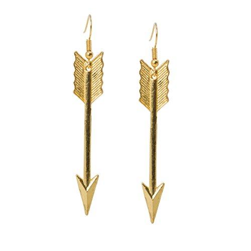 geralin Gioielli–Pendientes oro atravesado Flecha Pendientes Indios Vintage